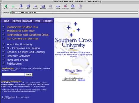SCU Home Page circa 2000