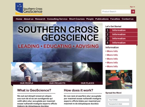 The original design for the Southern Cross GeoScience website.