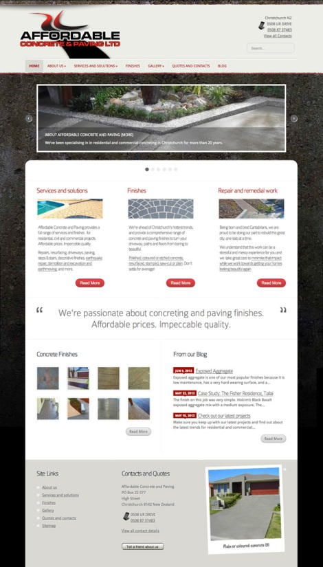 The new Affordable Concrete and Paving website